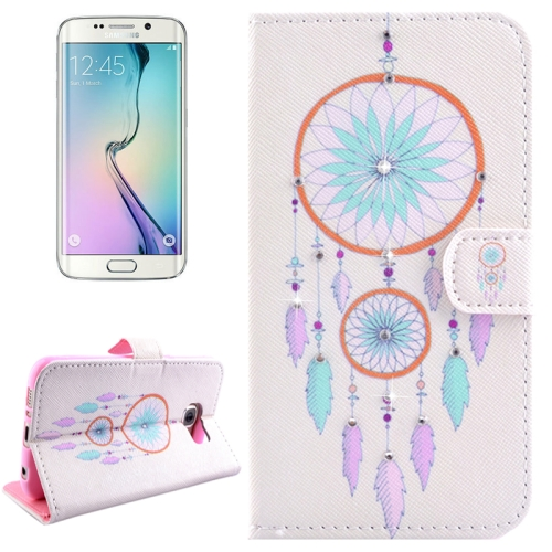 Buy For Samsung Galaxy S6 Edge / G925 Pure and Fresh Windbell Pattern Horizontal Flip Diamond Encrusted Leather Case with Holder & Wallet & Card Slots for $2.48 in SUNSKY store