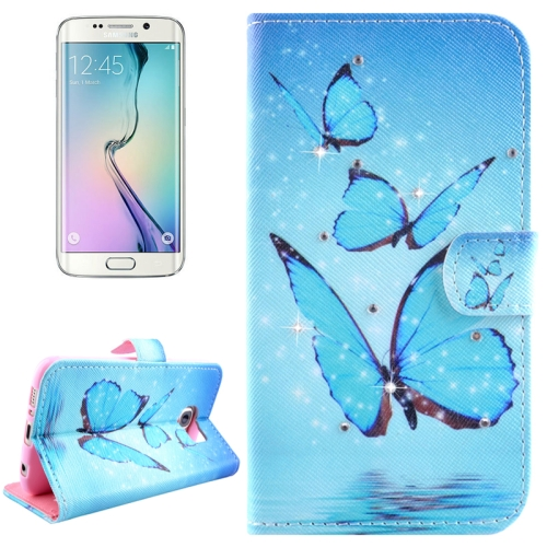 For Samsung Galaxy S6 Edge / G925 Blue Butterflies Pattern Horizontal Flip Diamond Encrusted Leather Case with Holder & Wallet & Card Slots