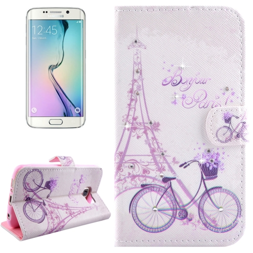 Buy For Samsung Galaxy S6 Edge / G925 Bicycle Pattern Horizontal Flip Diamond Encrusted Leather Case with Holder & Wallet & Card Slots for $2.47 in SUNSKY store