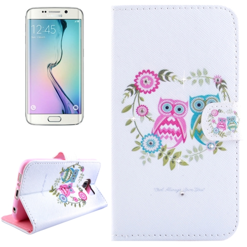 Buy For Samsung Galaxy S6 Edge / G925 Owl Couples Pattern Horizontal Flip Diamond Encrusted Leather Case with Holder & Wallet & Card Slots for $2.48 in SUNSKY store