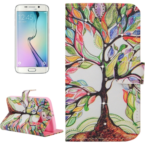 Buy For Samsung Galaxy S6 Edge / G925 Abstract Tree Pattern Horizontal Flip Diamond Encrusted Leather Case with Holder & Wallet & Card Slots for $2.48 in SUNSKY store