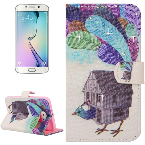 Buy For Samsung Galaxy S6 Edge / G925 Creative Poult House Pattern Horizontal Flip Diamond Encrusted Leather Case with Holder & Wallet & Card Slots for $2.48 in SUNSKY store