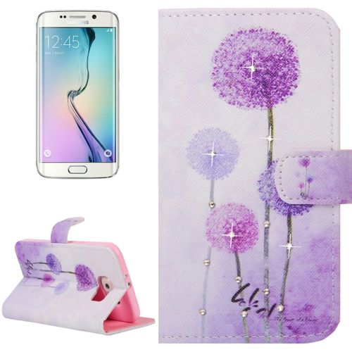 Buy For Samsung Galaxy S6 Edge / G925 Purple Dandelions Pattern Horizontal Flip Diamond Encrusted Leather Case with Holder & Wallet & Card Slots for $2.48 in SUNSKY store