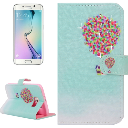 Buy For Samsung Galaxy S6 Edge / G925 Colorful Fire Balloon Pattern Horizontal Flip Diamond Encrusted Leather Case with Holder & Wallet & Card Slots for $2.48 in SUNSKY store