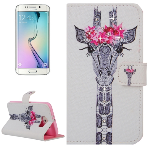 Buy For Samsung Galaxy S6 Edge / G925 Creative Horse Head Pattern Horizontal Flip Diamond Encrusted Leather Case with Holder & Wallet & Card Slots for $2.48 in SUNSKY store