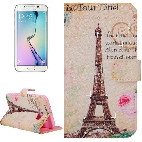 Buy For Samsung Galaxy S6 Edge / G925 Tower and Words Pattern Horizontal Flip Diamond Encrusted Leather Case with Holder & Wallet & Card Slots for $2.48 in SUNSKY store