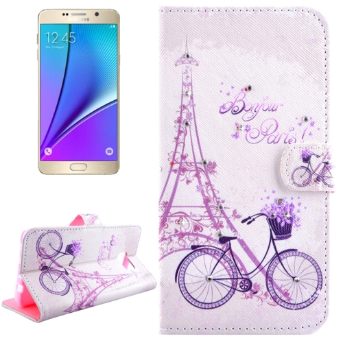Buy Bicycle Pattern Horizontal Flip Diamond Encrusted Leather Case with Holder & Wallet & Card Slots for Samsung Galaxy Note 5 / N920 for $2.49 in SUNSKY store