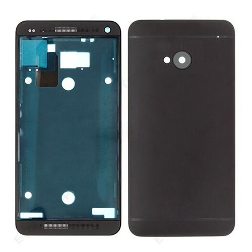 SUNSKY - Full Housing Cover (Front Housing LCD Frame Bezel Plate + Back Cover) for HTC One M7 / 801e(Black)