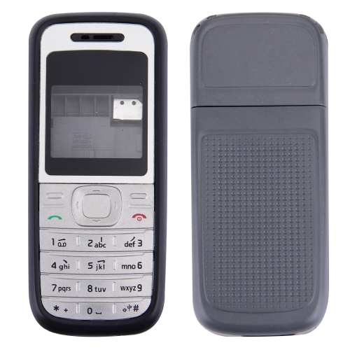 Full Housing Cover Replacement(Front Cover + Middle Frame Bazel + Battery Back Cover) for Nokia 1200 / 1208 / 1209(Black)