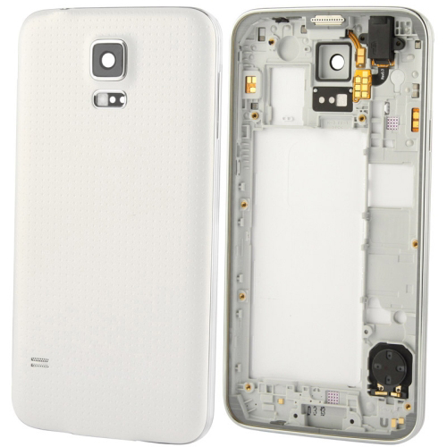 Original LCD Middle Board (Dual Card Version) with Button Cable & Back Cover , Replacement for Galaxy S5 / G900(White)
