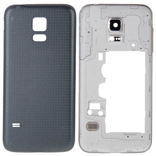 Full Housing Cover Replacement(Middle Frame Bazel Back Plate Housing Camera Lens Panel + Battery Back Cover Replacement)for Galaxy S5 mini / G800(Black)