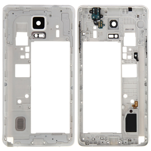 Middle Frame Bazel Back Plate Housing Camera Lens Panel Replacement for Galaxy Note 4 / N910F(White)