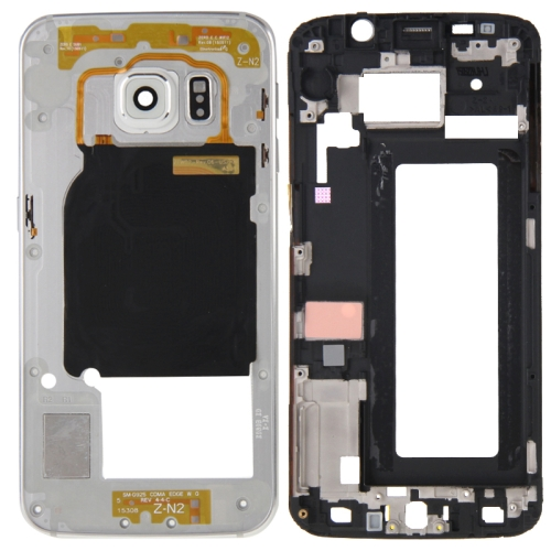 Full Housing Cover Replacement(Front Housing LCD Frame Bezel Plate + Back Plate Housing Camera Lens Panel Replacement) for Galaxy S6 Edge / G925(Silver)