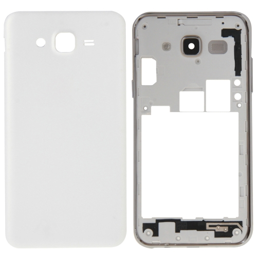 Full Housing Cover Replacement(Middle Frame Bazel + Battery Back Cover) for Galaxy J5(2015) / J500(White)