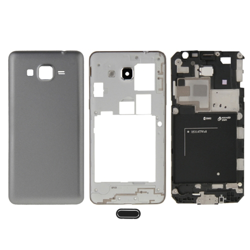 Full Housing Cover (Front Housing LCD Frame Bezel Plate + Middle Frame Bezel + Battery Back Cover) + Home Button for Galaxy Grand Prime / G530 (Dual SIM Card Version)(Grey)