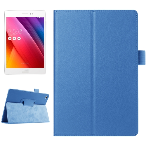 Buy Litchi Texture Horizontal Flip Solid Color Smart Leather Case with Holder & Sleep / Wake-up Function for ASUS ZenPad S 8.0 / Z580C, Blue for $2.55 in SUNSKY store