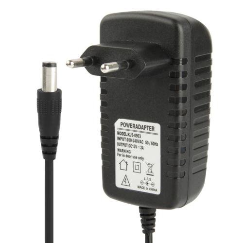 Buy High Quality EU Plug AC 100-240V to DC 12V 2A Power Adapter, Tips: 5.5x2.1mm, Cable Length: 1m, Black for $4.16 in SUNSKY store