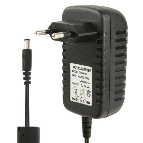 Buy High Quality EU Plug AC 100-240V to DC 6V 2A Power Adapter, Tips: 5.5x2.1mm, Cable Length: 1.1m, Black for $3.91 in SUNSKY store