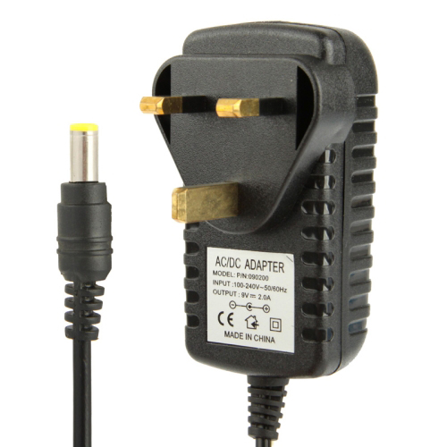 High Quality UK Plug AC 100-240V to DC 9V 2A Power Adapter, Tips: 5.5x2.1mm, Cable Length: 1m