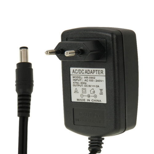 High Quality EU Plug AC 100-240V to DC 9V 2A Power Adapter, Tips: 5.5x2.1mm, Cable Length: 1m