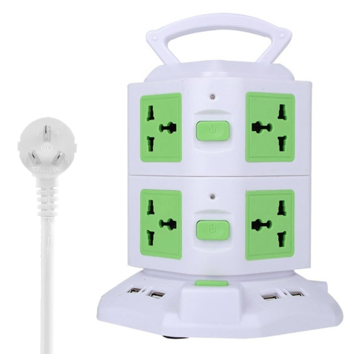 Buy 2 Layers with 8 AU US/EU/AU/UK Universal Outlets and 6 USB Ports Smart Power Sockets, Overload Protector, AU Plug,Cable Length: 1.5m, Green for $12.37 in SUNSKY store