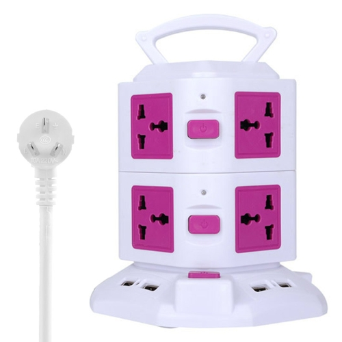 Buy 2 Layers with 8 US/EU/AU/UK Universal Outlets and 6 USB Ports Smart Power Sockets, Overload Protector, AU Plug, Cable Length: 1.5m, Magenta for $12.37 in SUNSKY store