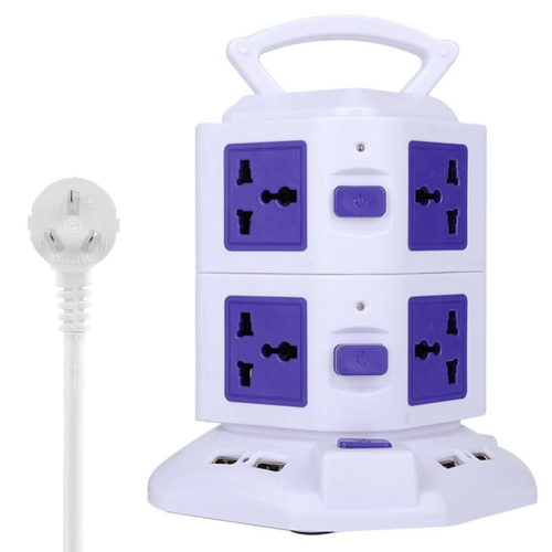 Buy 2 Layers with 8 US/EU/AU/UK Universal Outlets and 6 USB Ports Smart Power Sockets, Overload Protector, AU Plug, Cable Length: 1.5m, Purple for $12.37 in SUNSKY store