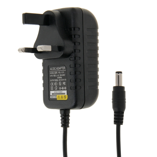 Buy UK Plug AC 100-240V to DC 12V 1A Power Adapter, Tips: 5.5x2.1mm, Cable Length: about 90cm, Black for $2.27 in SUNSKY store