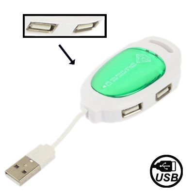 Mini Hi-Speed 4 Port USB 2.0 Hub,Support 500GB HDD, Green