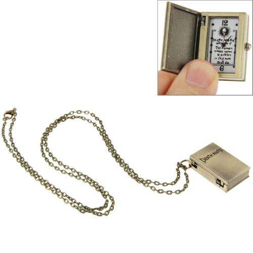 Buy Vintage Unique Quartz Pocket Watch Death Note Pendant Necklace Watch, Bronze for $2.86 in SUNSKY store