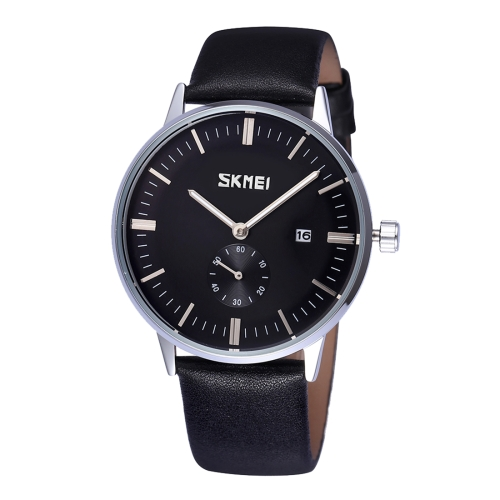 Buy SKMEI Nail Scale Round Dial Small Function Second Dial Calendar Display Men Sport Quartz Watch with Genuine Leather Band, Black for $10.85 in SUNSKY store
