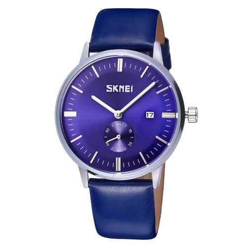 Buy SKMEI Nail Scale Round Dial Small Function Second Dial Calendar Display Men Sport Quartz Watch with Genuine Leather Band (Dark Blue) for $10.85 in SUNSKY store