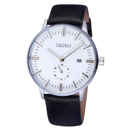 Buy SKMEI Nail Scale Round Dial Small Function Second Dial Calendar Display Men Sport Quartz Watch with Genuine Leather Band, White for $10.85 in SUNSKY store