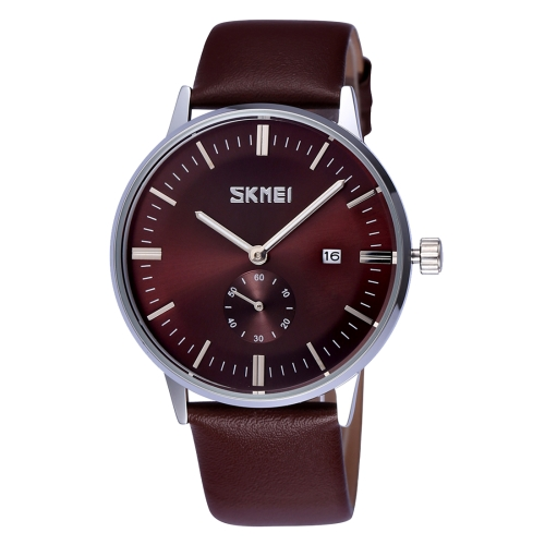 Buy SKMEI Nail Scale Round Dial Small Function Second Dial Calendar Display Men Sport Quartz Watch with Genuine Leather Band, Brown for $10.85 in SUNSKY store