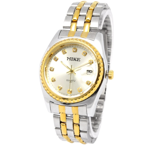 Buy White Dial Men Diamond Quartz Stainless Steel Watch with Date Display / Couple Watch, 301 for $10.20 in SUNSKY store