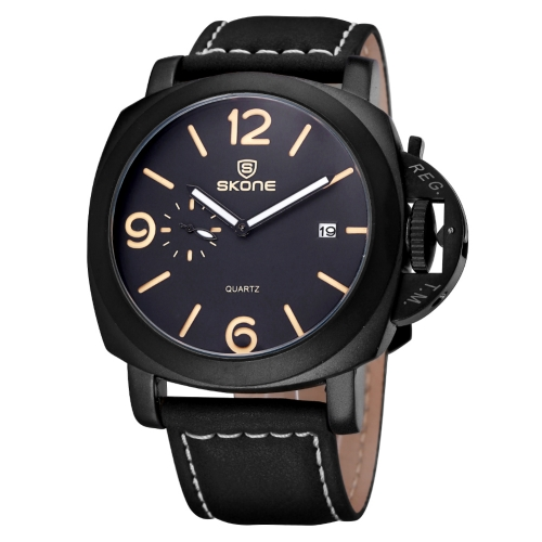 Buy SKONE Real Small Second Dial Calendar Display Fashion Men Quartz Watch with PU Leather Band, Black for $12.56 in SUNSKY store