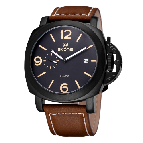 Buy SKONE Real Small Second Dial Calendar Display Fashion Men Quartz Watch with PU Leather Band (Black + Coffee) for $12.56 in SUNSKY store