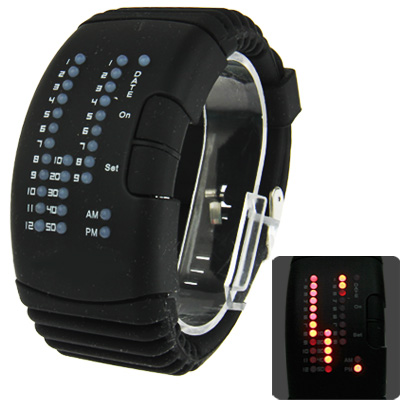 Red Light LED Watch with Silicon Watchband, Black