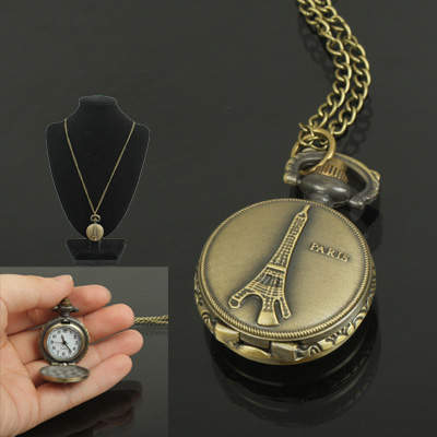Buy Classical Picture of Eiffel Tower Copper Chain Pocket Watch for $3.22 in SUNSKY store