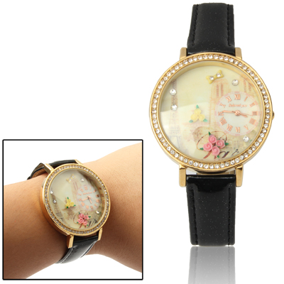 Buy Round Case Quartz Wrist Watch with Faux Leather Strap & Rhinestones for $7.37 in SUNSKY store
