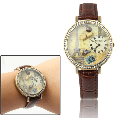 Round Case Quartz Wrist Watch with Faux Leather Strap & Rhinestones, Brown