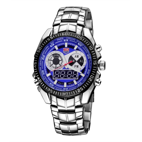 Buy TVG Round Dial Hardlex Watch Window Luminous & Alarm & Week Display Function Quartz + Digital Double Movement Men Watch with Alloy Band (Dark Blue) for $27.72 in SUNSKY store
