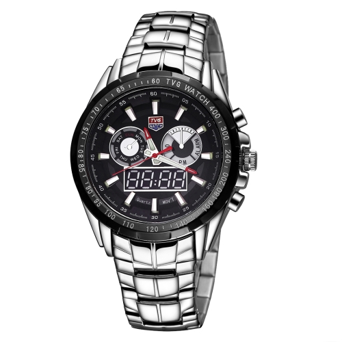Buy TVG Round Dial Glass Watch Window Luminous & Alarm & Week Display Function Quartz + Digital Double Movement Men Watch with Alloy Band, Black for $29.87 in SUNSKY store