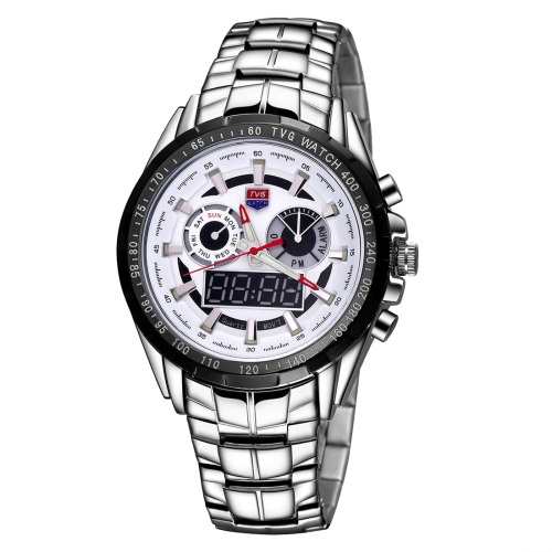 Buy TVG Round Dial Glass Watch Window Luminous & Alarm & Week Display Function Quartz + Digital Double Movement Men Watch with Alloy Band, White for $29.78 in SUNSKY store