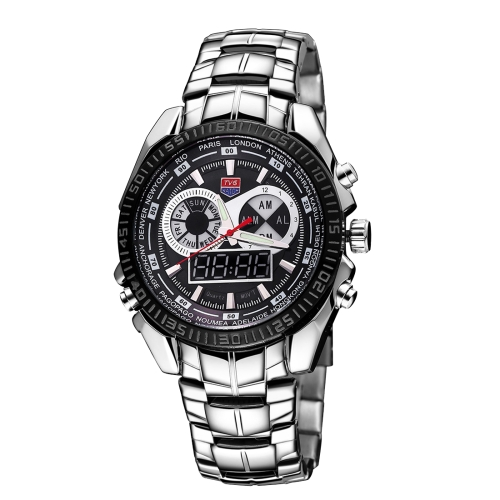 Buy TVG Round Dial Glass Watch Window Luminous & Alarm & Week Display Function Quartz + Digital Double Movement Men Watch with Alloy Band, Black for $21.23 in SUNSKY store