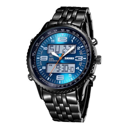 Buy SKMEI 3707 Multifunctional Dual Movement Big Dial Sport Watch Quartz Digital Wrist Watch with Alloy Band and Luminous Display & Stopwatch & Alarm & Week Display & Calendar Functions for Men (Blue + Black) for $14.39 in SUNSKY store