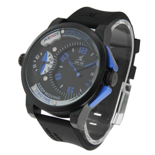 Buy WEIDE UV1501 Pointer Type Two Time Zones Calendar Display Oversized Wristwatch 30m Waterproof Sport Watch for Men (Black + Blue) for $25.39 in SUNSKY store