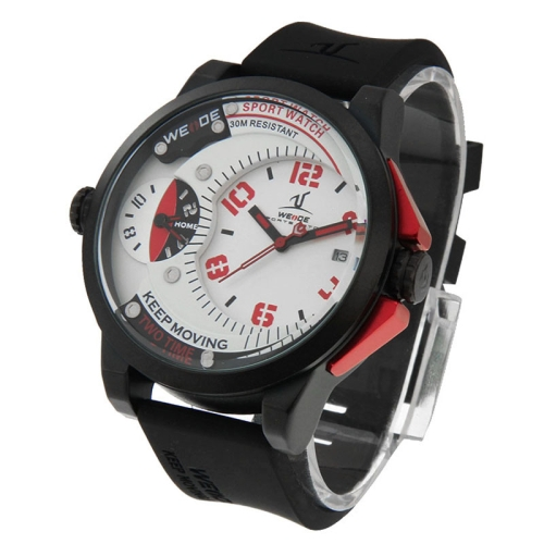 Buy WEIDE UV1501 Pointer Type Two Time Zones Calendar Display Oversized Wristwatch 30m Waterproof Sport Watch for Men (Black + Red) for $25.39 in SUNSKY store