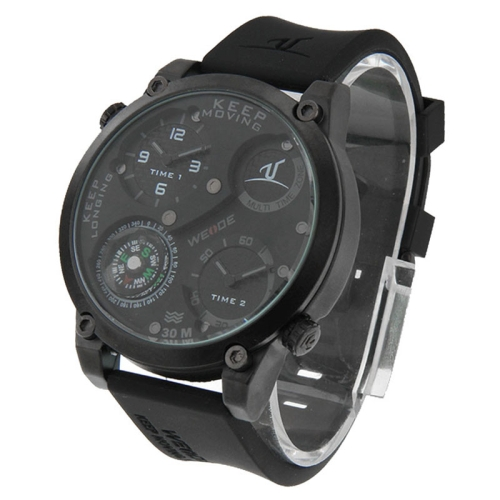 Buy WEIDE UV1505 Two Time Zone Pointer Display 30m Waterproof Silicone Strap Quartz Sport Watch with Compass for Men, Grey for $25.41 in SUNSKY store
