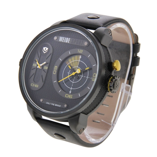 Buy WEIDE WH3409 Pointer Type Display Oversized Wristwatch 30m Waterproof Leather Strap Quartz Sport Watch for Men, Yellow for $31.23 in SUNSKY store